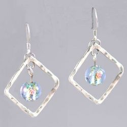 Hammered Silver Diamond Blue Earrings