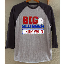 Father and Son Personalized Big Slugger Baseball T-Shirt