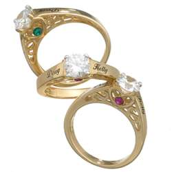 10K Gold Couple's Name and Birthstone Cubic Zirconia Promise Ring