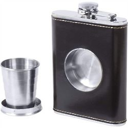 Faux Leather Flask with Built-In Shot Cup