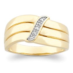 14 Karat Gold-Plated Diamond Highlight Curves Ring