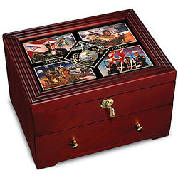 USMC Wooden Strongbox with Military Art Lid