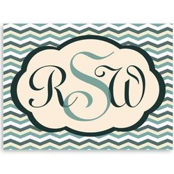 Baby's Personalized Chevron Blue Canvas Sign