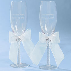Double Heart Wedding Flute Set