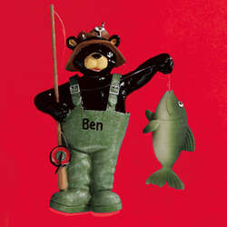 Personalized Bear Fisherman Ornament