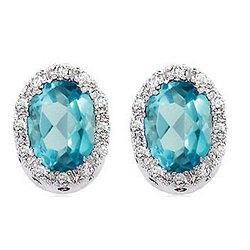 14k White Gold Oval Blue Topaz Diamond Button Earrings