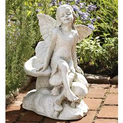 Fairy on A Mushroom Garden Statue