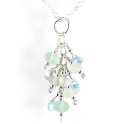 Sea Glass and Sterling Silver Necklace in Seafoam Tones