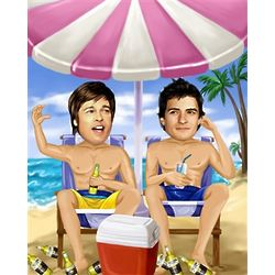 Personalized Life's a Beach Guy's Caricature