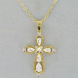 Two Tone Cubic Zirconia Cross Pendant