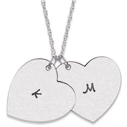 Sterling Silver Couple's Satin Hearts Necklace