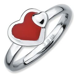 Enamel and Sterling Silver Red Double Heart Stackable Ring
