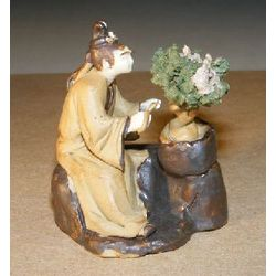 Woman Trimming Bonsai Tree Figurine