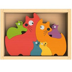 Cat Family Chunky Wooden Puzzle