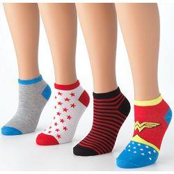 Wonder Woman Stripes and Stars No-Show Socks