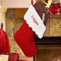 Embroidered Football Christmas Stocking