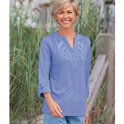 Split Neck Embroidered Knit Tunic