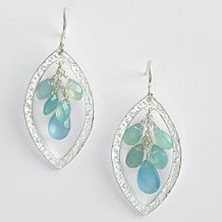 Silver and Blue Chalcedony Drop Earrings
