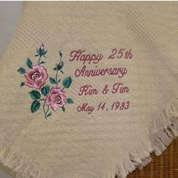 Anniversary Roses Personalized Embroidered Afghan