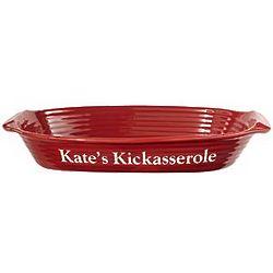 Burgundy Personalized Stoneware Casserole Dish