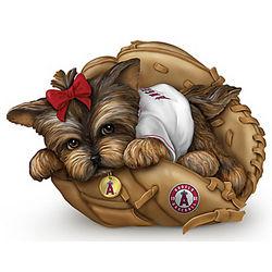 Los Angeles Angels of Anaheim Yorkie Dog Figurine