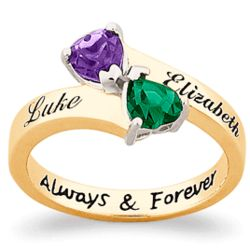 10K Gold Couple's Name and Birthstone Hearts Ring