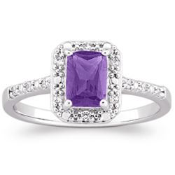 Platinum Over Sterling Amethyst and CZ Ring