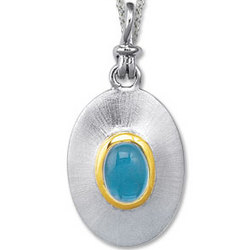 18K Yellow Gold Sterling Silver Blue Topaz Disk Pendant