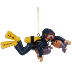Personalized Male Scuba Diver Christmas Ornament