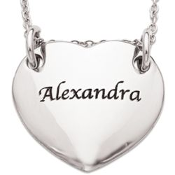 Stainless Steel Engraved Name Heart Pendant Necklace