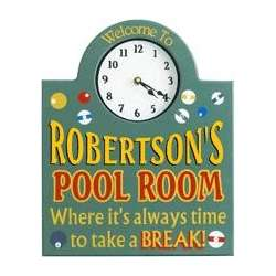 Personalized Pool Room Sign with Clock