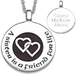 Sterling Silver A Sister is Friend Engraved Pendant