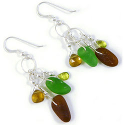 Sea Glass and Sterling Silver Earrings in Earth Tones