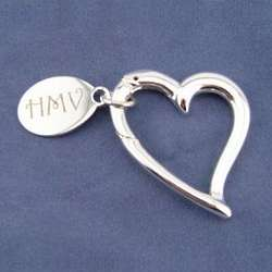 Personalized Modern Silver Heart Key Chain with Charm