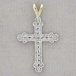 Two Tone Diamond Cross Pendant Necklace