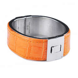 Crocodile Embossed Leather Stainless Steel Bangle