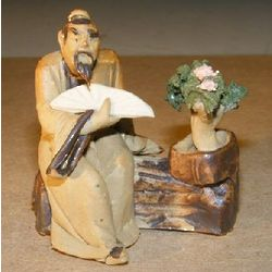 Man with a Fan and Bonsai Ceramic Figurine