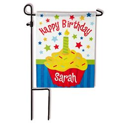 Personalized Birthday Cupcake Flag with Stake