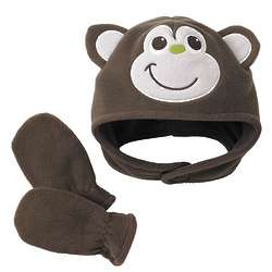 Monkey Microfleece Hat and Mittens