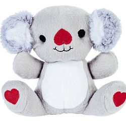 Plush Koalas with Embroidered Hearts