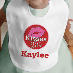 Kisses for 25 Cents Personalized Baby Bib