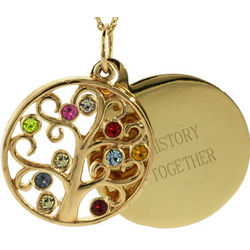 Engravable 10 Stone Gold Vermeil Birthstone Family Tree Necklace