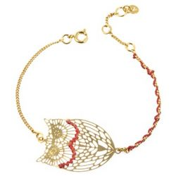 Engraved Gold-Plated Owl Bracelet