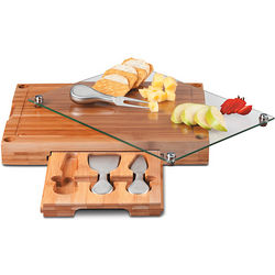 Bamboo Wood Cutting Board and Cheese Tool Set