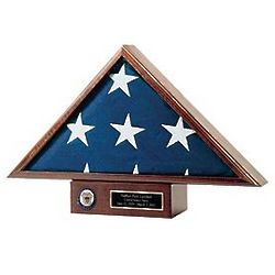 Personalized Flag Display Case and Navy Pedestal Set