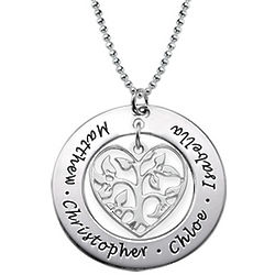 Personalized Heart Family Tree Necklace