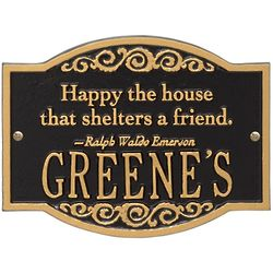 Emerson Happy House Quote Family Name Plaque