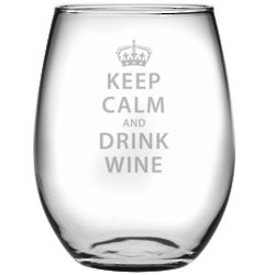 Keep Calm and Drink Wine Stemless Glasses