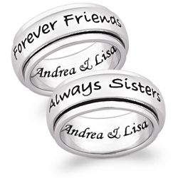 Stainless Steel Always Sisters Engraved Spinner Band