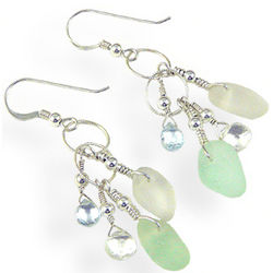 Sea Glass and Sterling Silver Earrings in Seafoam Tones